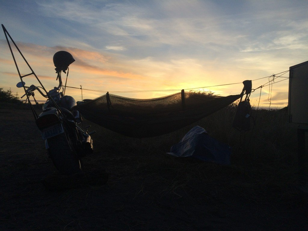 Adventure riding camping hammock road trip