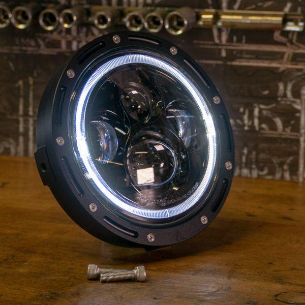 """LED halo 7"""" motorcycle headlight cafe racer"""