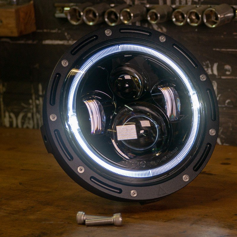 Bright LED cafe racer headlight 7 inch