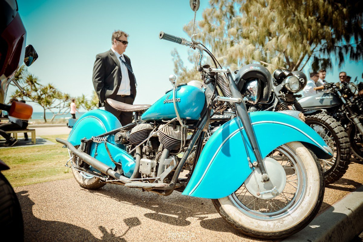 Vitage Bobber Indian Motorcycles Custom Motorcycle event DGR2017 Gentlemans ride