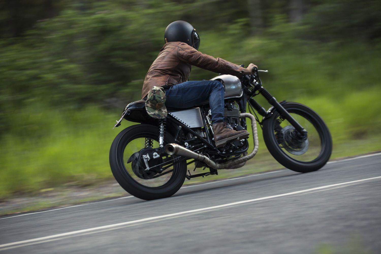 Cafe Racer rider custom built motorcycle