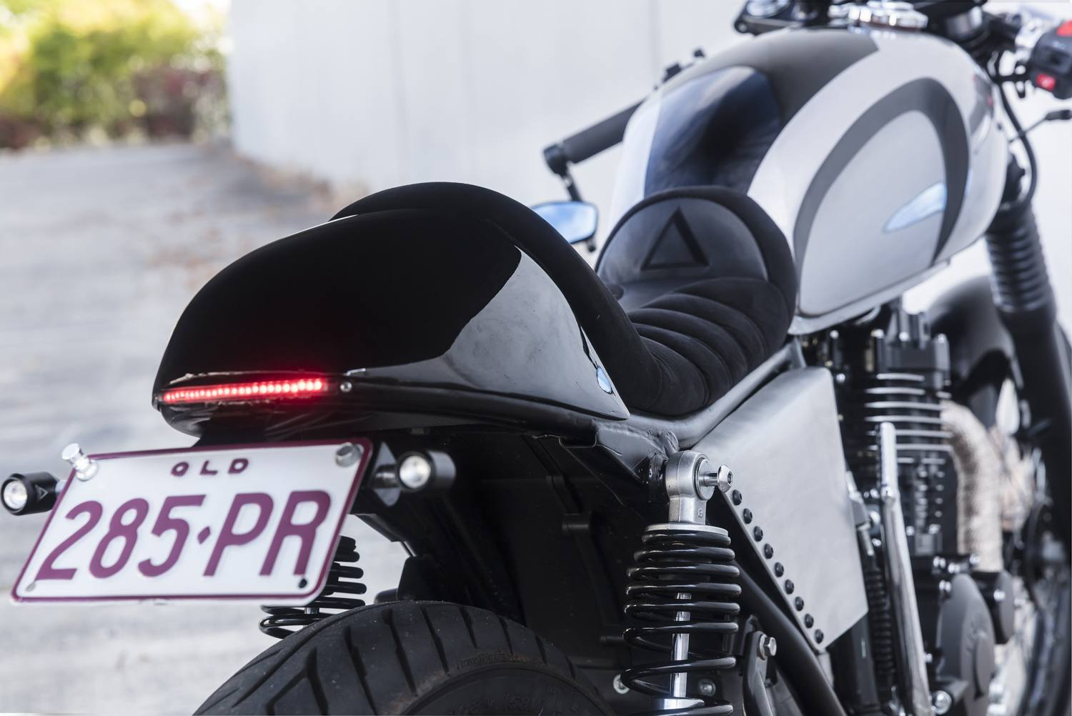 Custom Cafe Racer tail LED lights and switches motorcycle upholstery QLD
