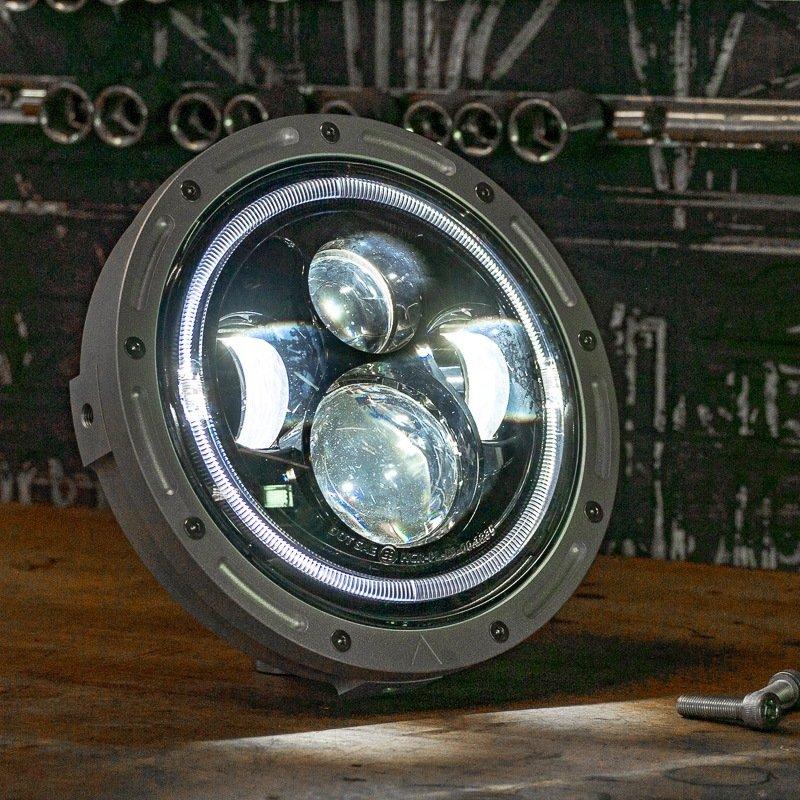 Custom bike LED headlight streetfighter scrambler