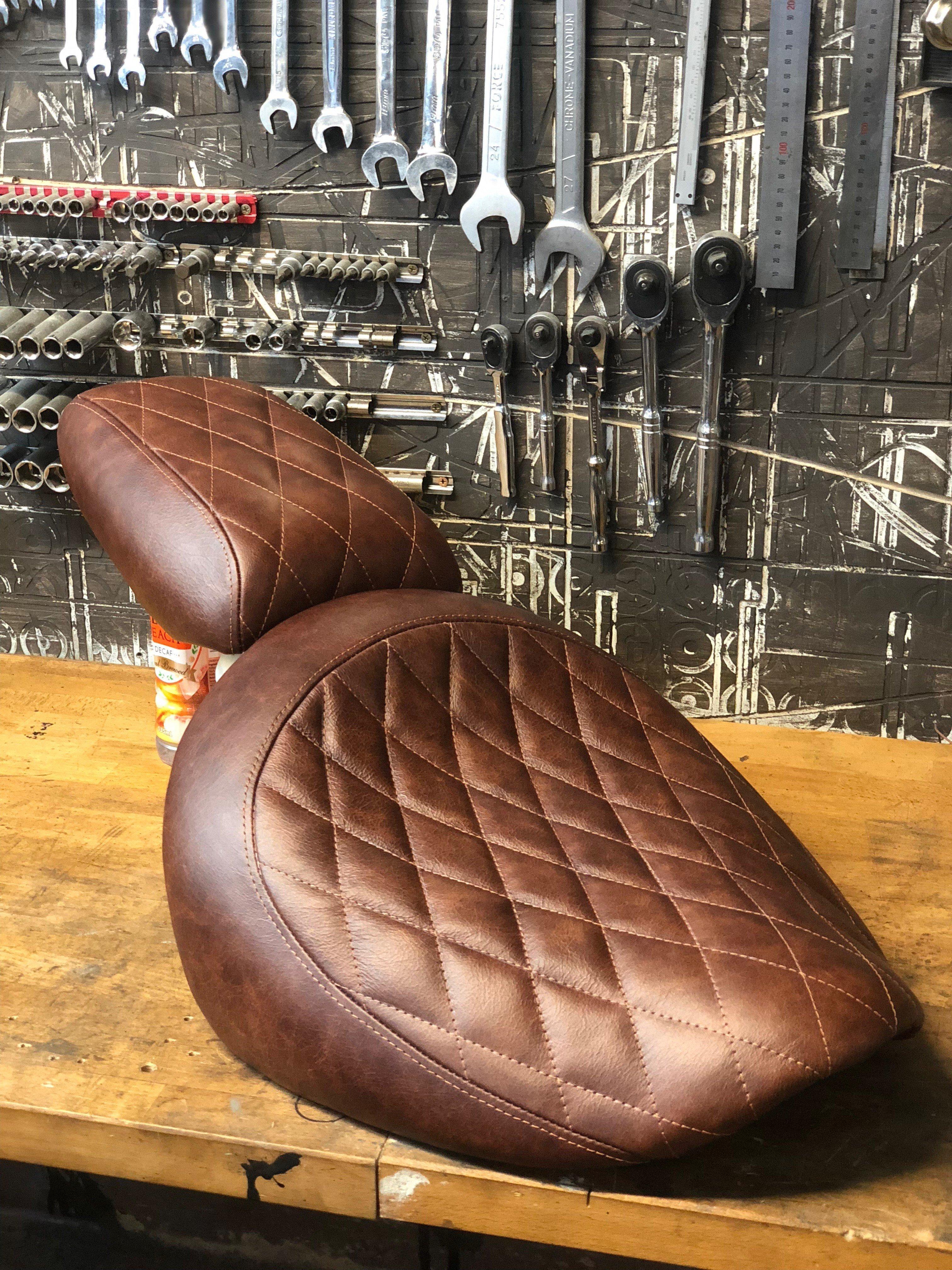 Tan leather seat Brown chopper seat