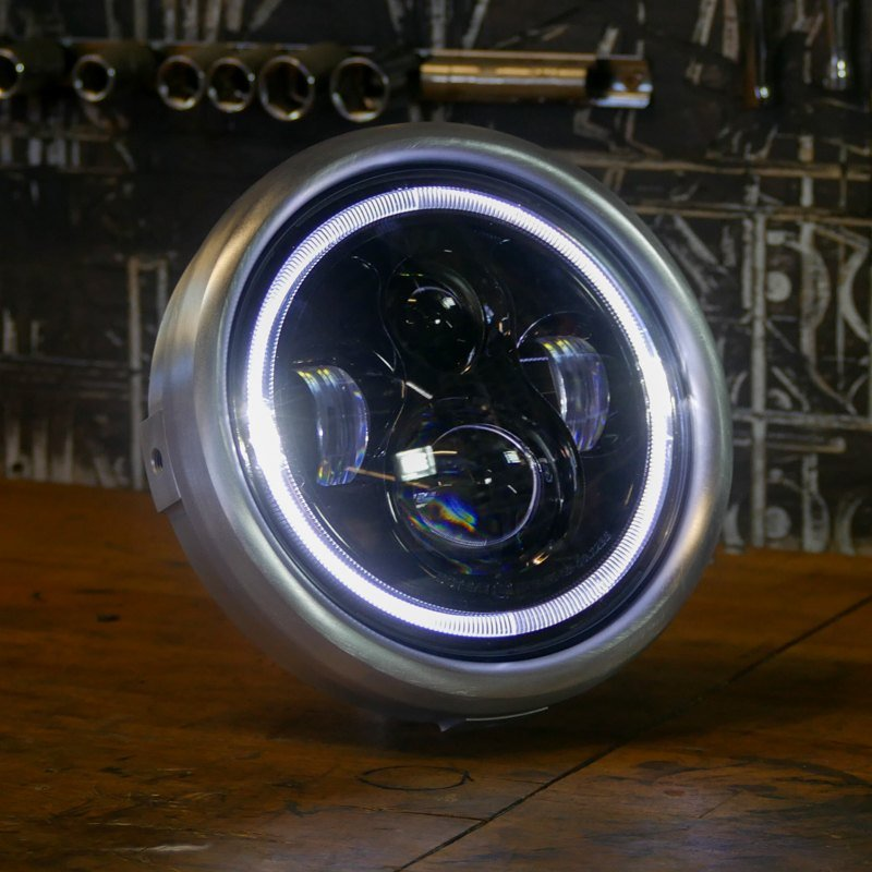 Silver LED classic headlight Motorcycle