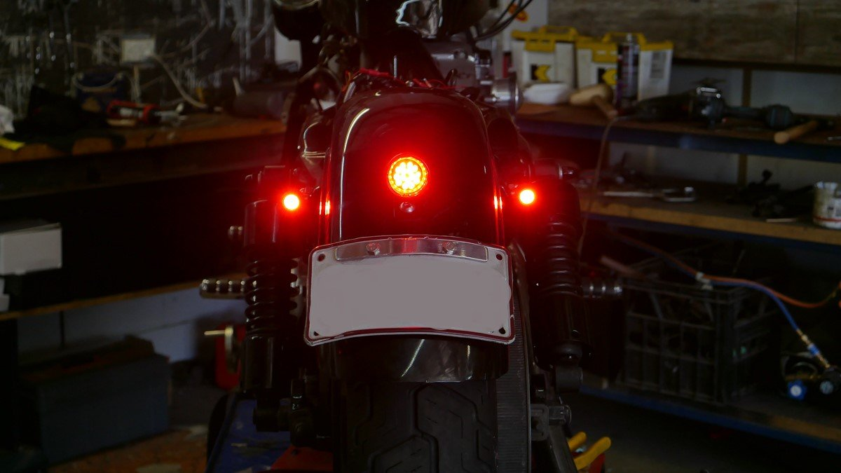 3 in 1 LED turn signal install Sportster - Purpose Built Moto Harley Davidson Rear Ke Tail Light Wiring Harness Diagram on