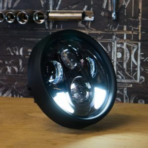 5 3/4 black LED moto headlight