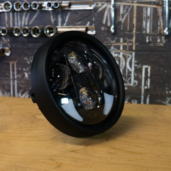 black cafe racer headlight LED