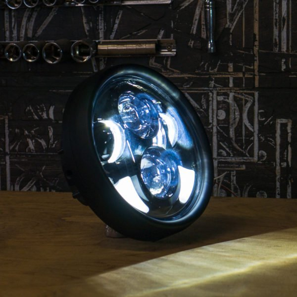Black LED motorcycle headlight