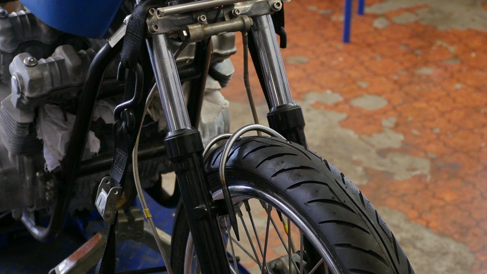 motorcycle fork brace DIY cafe racer chopper scrambler