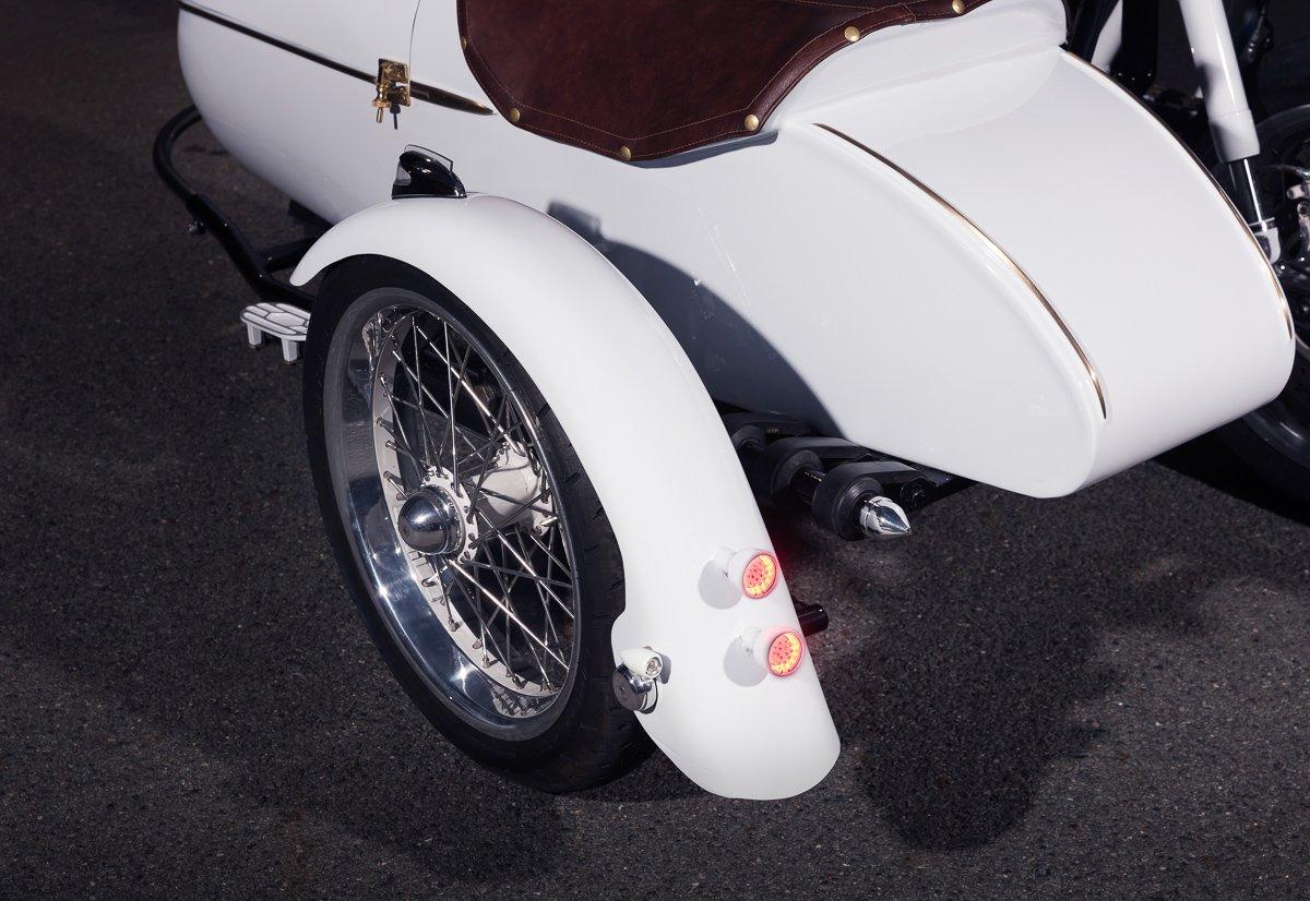 Triumph sidecar cafe racer custom build LED brake lights