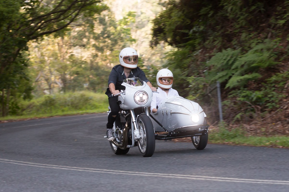 custom triumph sidecar cafe racer hand built australia LED lights