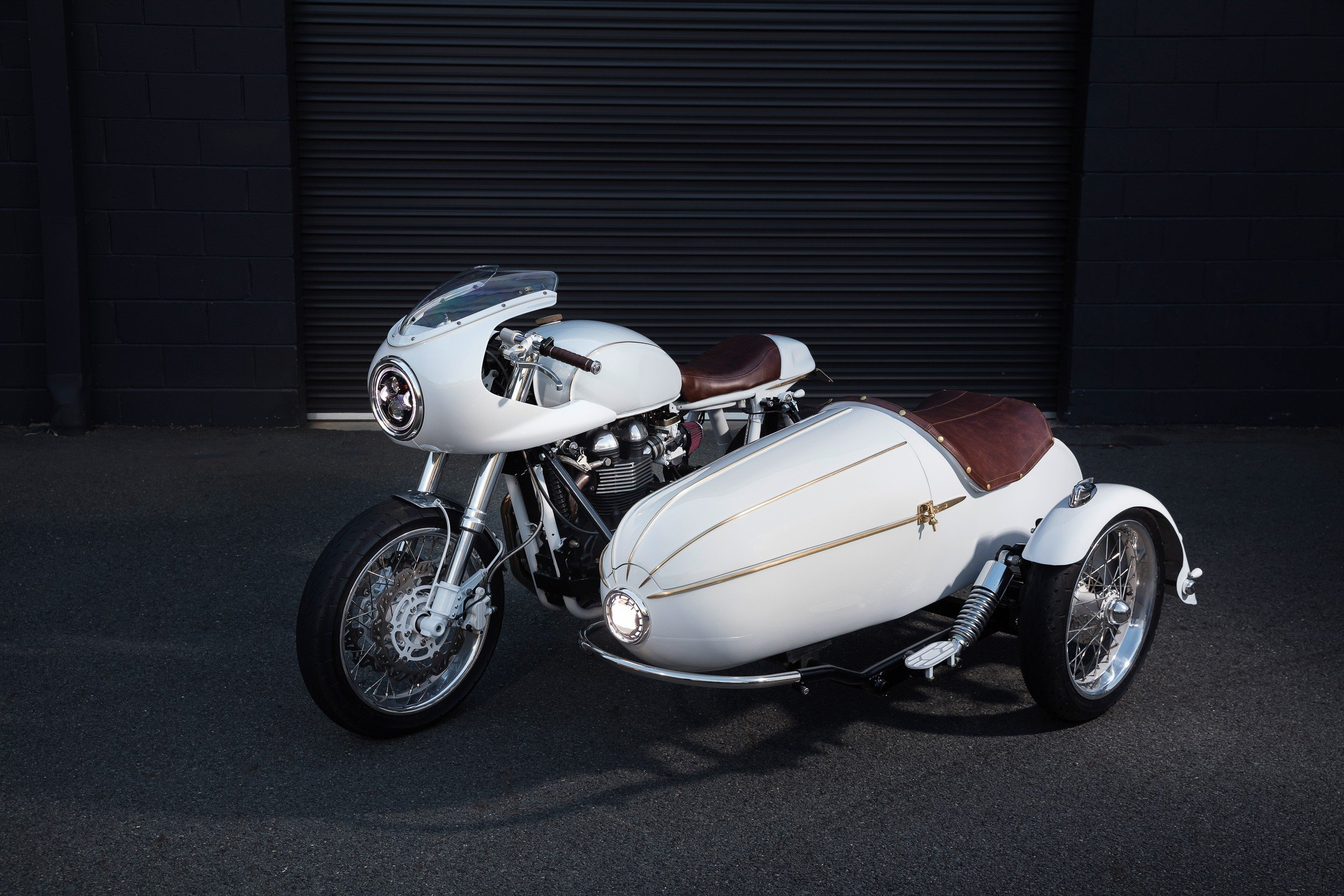 Custom built sidecar cafe racer