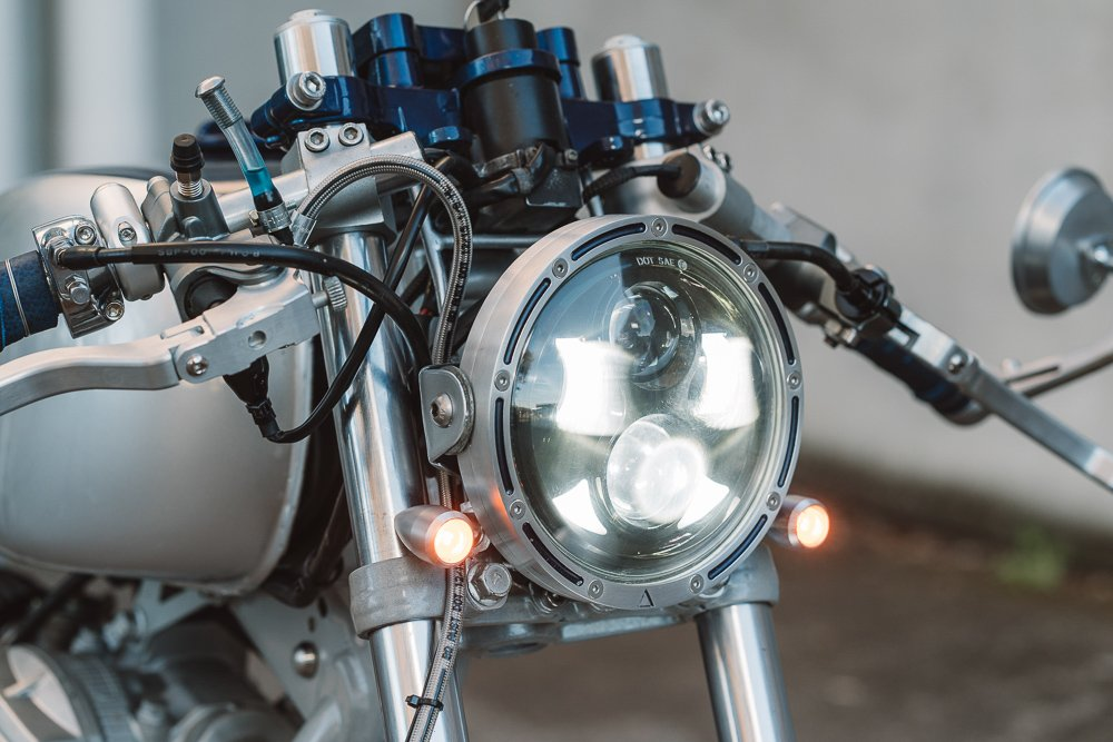 Installing front LED indicator turn signals Cafe Racer