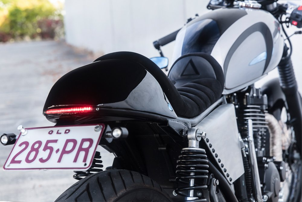 Cafe Racer motorcycle installing LED turn signals on the rear