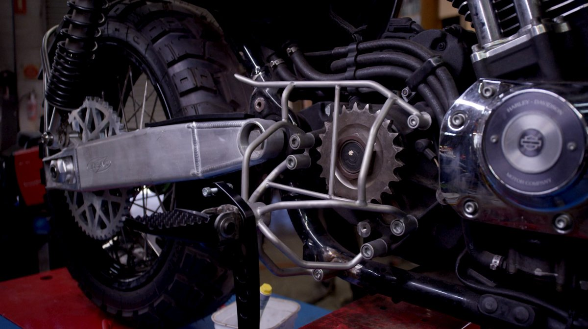 adventure bike build Harley sportster scrambler