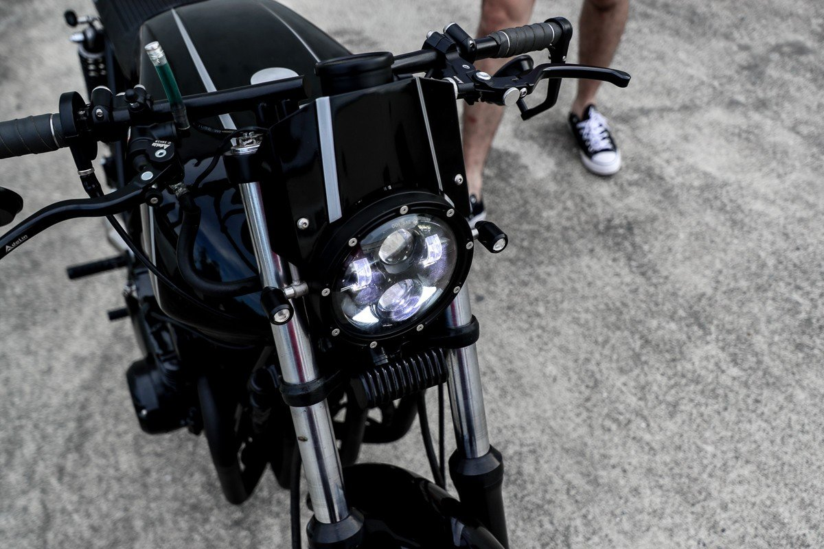 LED lights cafe racer motorcycle chopper