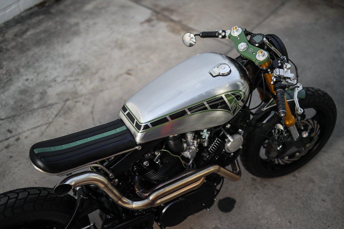 Yamaha XV750 bobber cafe racer custom gold coast
