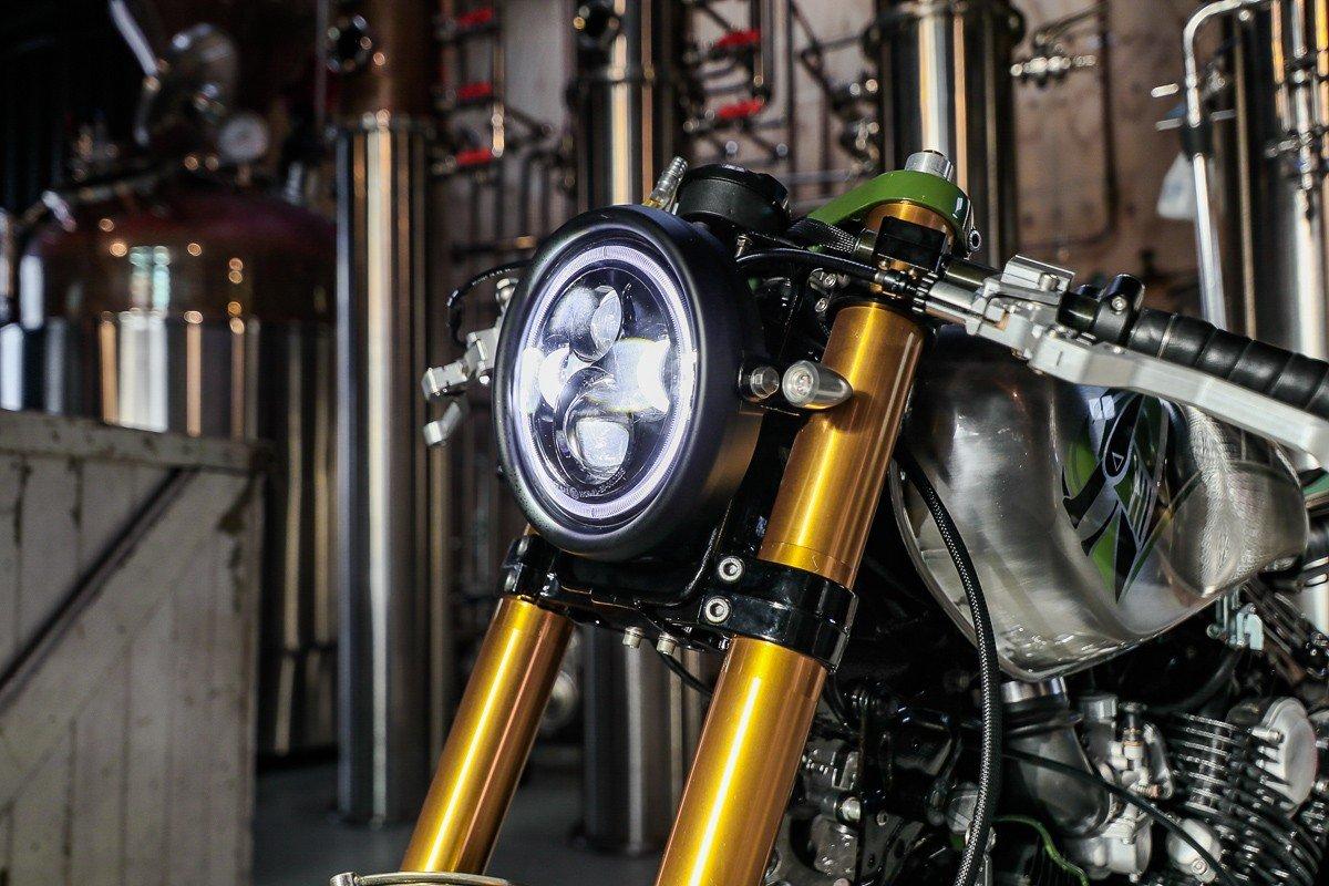 Custom motorcycle XV750 Yamaha cafe racer LED headlight