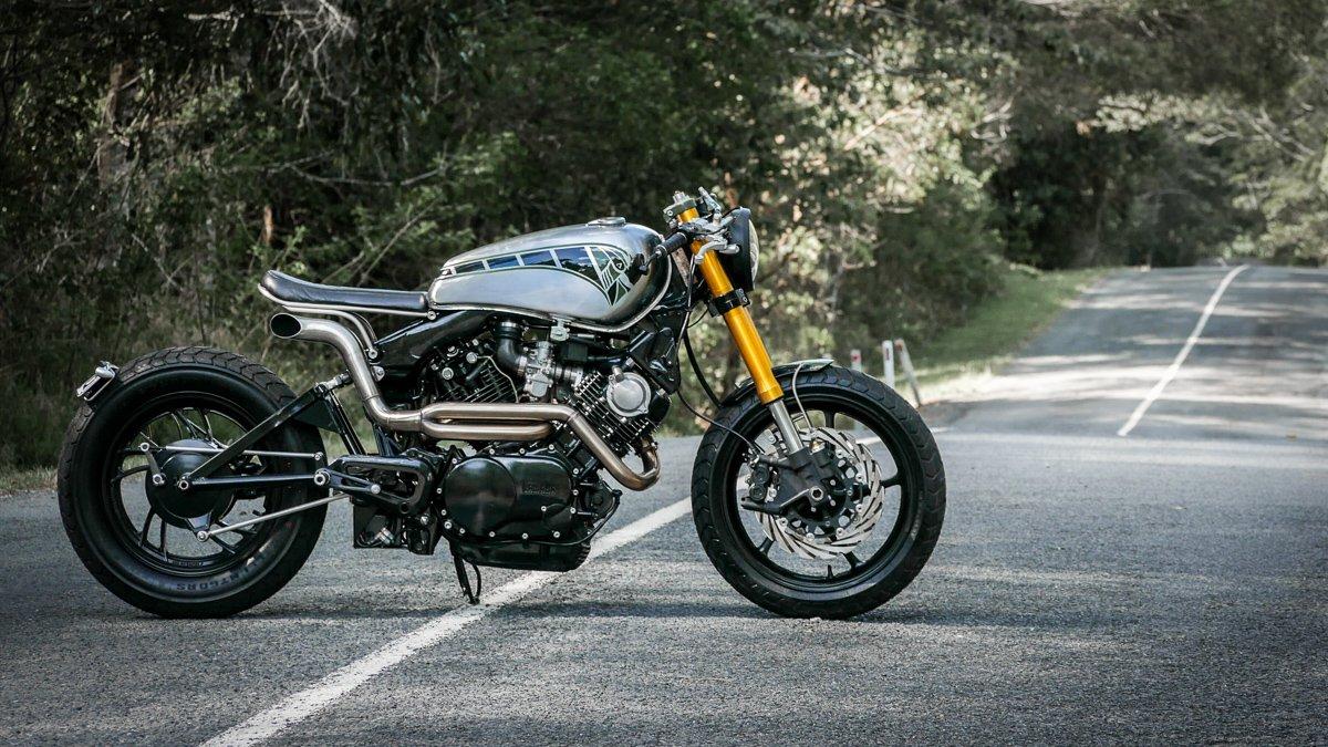 Custom Motorcycles brisbane purpose built moto Yamaha XV750 bobber on the road