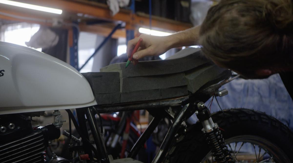 shaping foam blocks for custom motorcycle