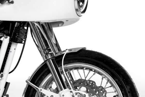 polished aluminium front fender