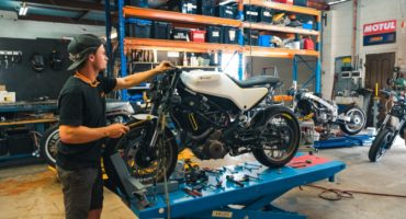 Dylan working on Husqvarna Project